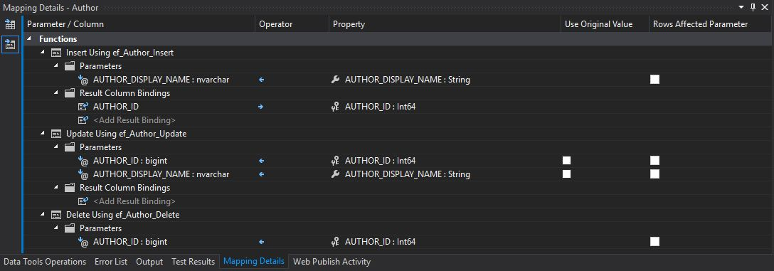 Author Stored Procedure Mappings